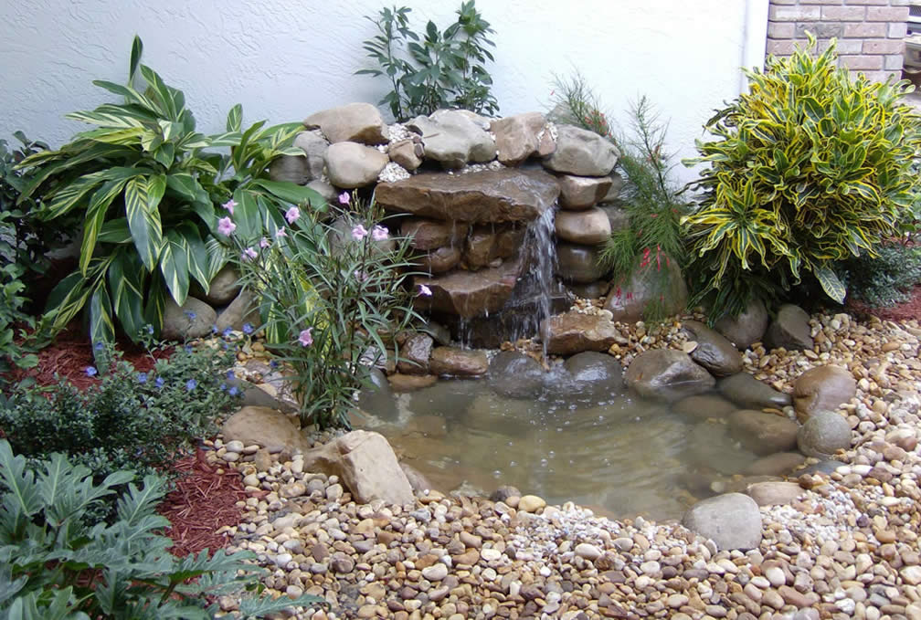 WATERFALL, POND, LANDSCAPE